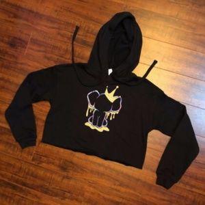 Black Hoodie Elephant Crop Waist Sweatshirt Top